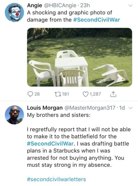 Screen shot of Second Civil War tweets.